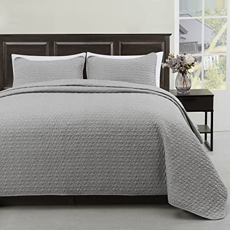 Charming Madison Full/Queen Size Bed 3pc Quilted Bedspread Light Grey Color Bed  Cover Set,