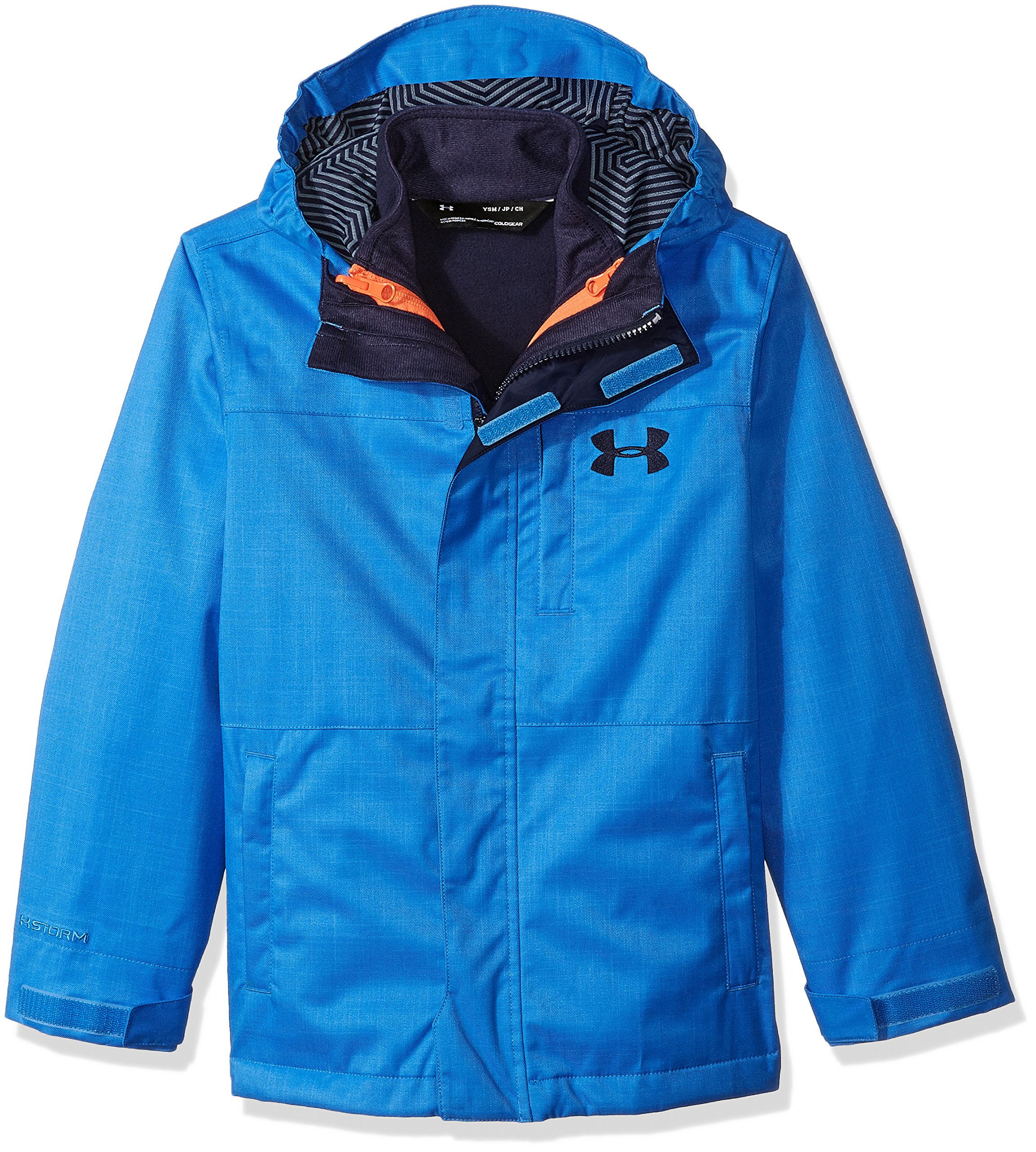 Under Armour Outerwear Boys' UA CGI Wildwood 3-in-1 (Big Kids), Mako Blue (983)/Midnight Navy, Youth Large