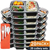 NEW 2017 Design Meal Prep Containers 3 Compartment with Lids & Utensils [20-Pack] | New Thicker BPA Free Food Storage Portion Control by Prep Naturals