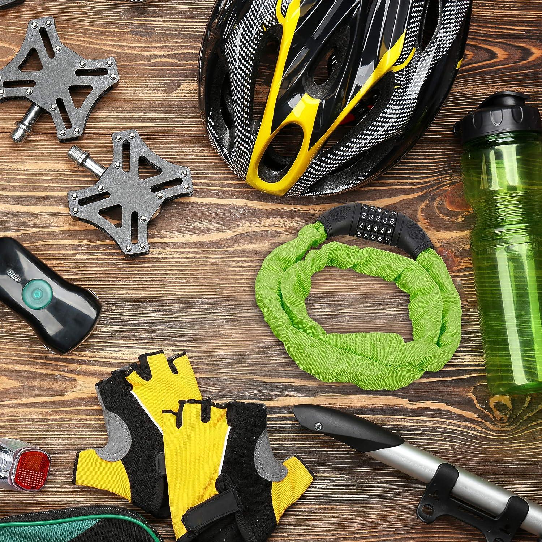 Combinaci/ón de Cinco n/úmeros Verde Candado de Cable num/érico Relaxdays Sistema antirrobo para Bicicletas Acero