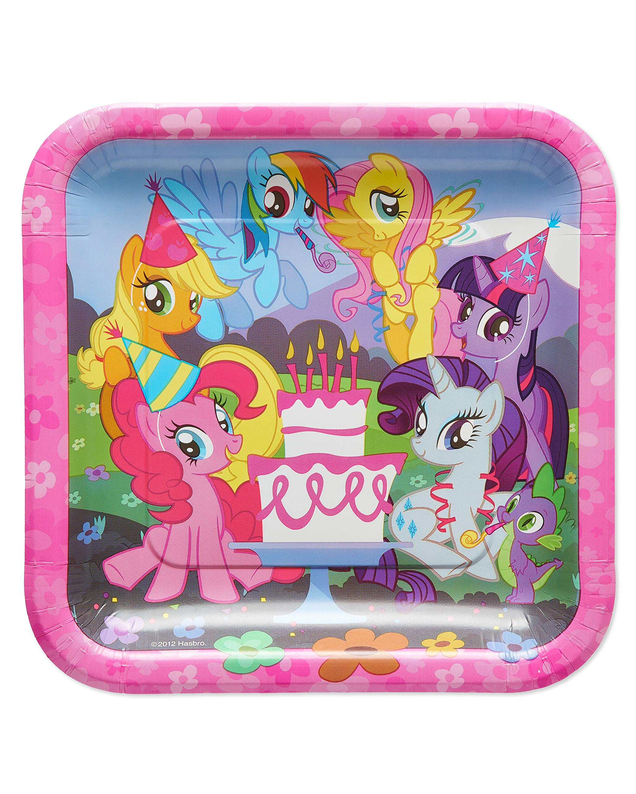 American Greetings My Square Little Pony Party Supplies, Disposable Paper Dinner Plates, 40-Count, Lunch