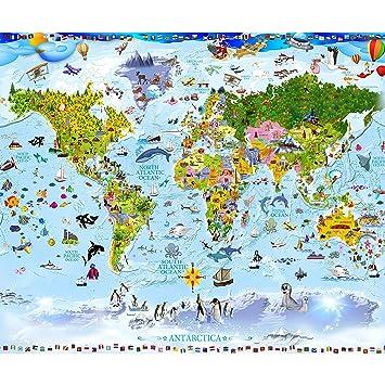 Decomonkey Fototapete Weltkarte Kinder Tiere Kindertapete Bunt