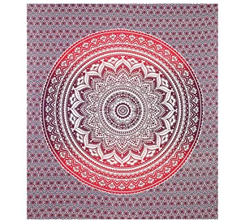 New Designs Pink Red Ombre Mandala Tapestries Mandala Hippie Wall Hanging  Queen Size Large Mandala Tapestry Part 69