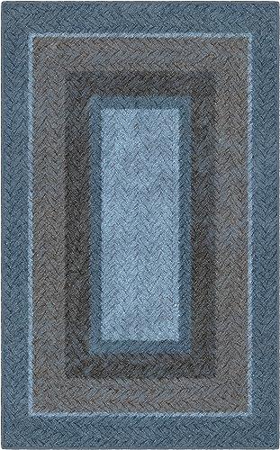 Brumlow Mills Blue And Brown Braided Printed Area Rug, 7 6 x 10 ,
