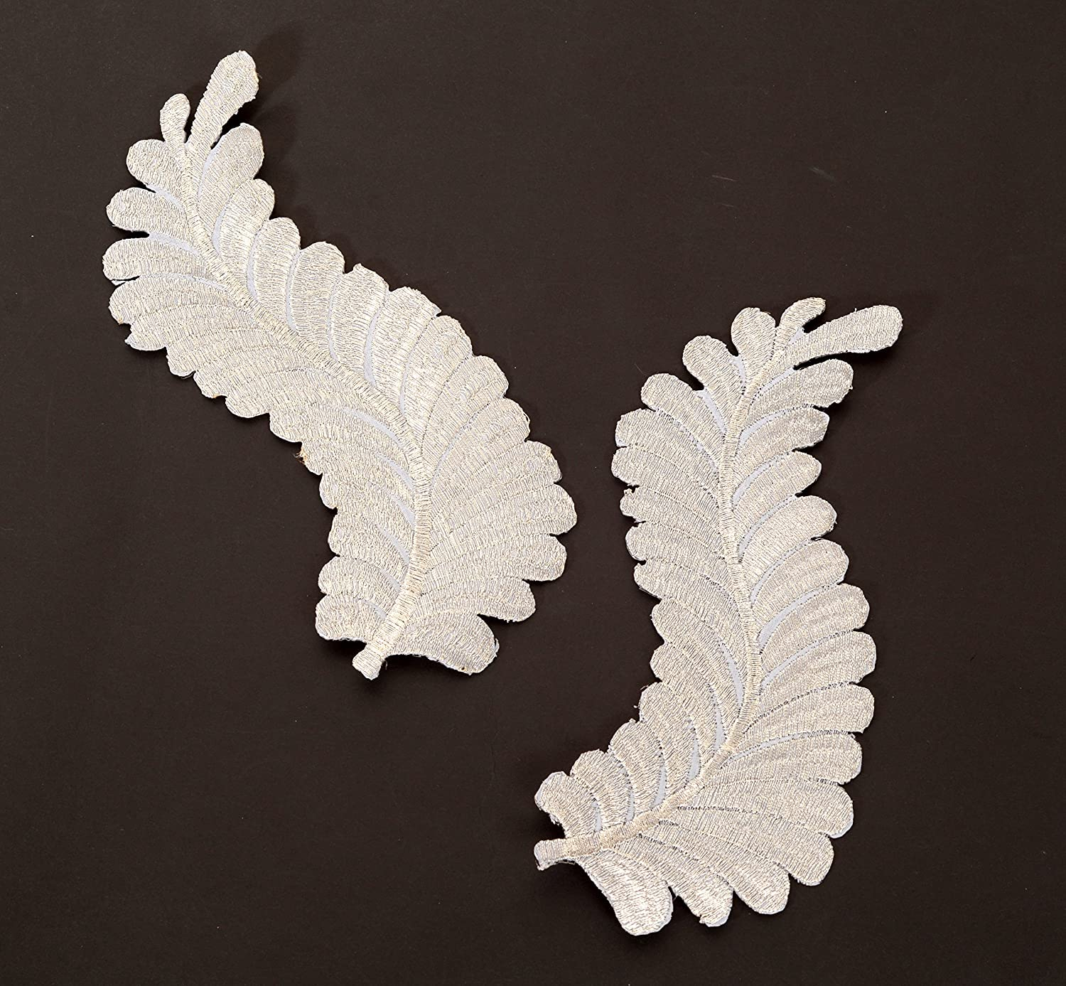 2Pcs Embroidered Lace Patches for Wedding Dress Applique DIY Patch Collar Decor