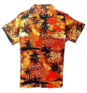 96cbf64e0 Mens Hawaiian Shirt Stag Beach Hawaii Aloha Party Summer Holiday Fancy  Beach Palm (XS, Orange): Amazon.co.uk: Clothing