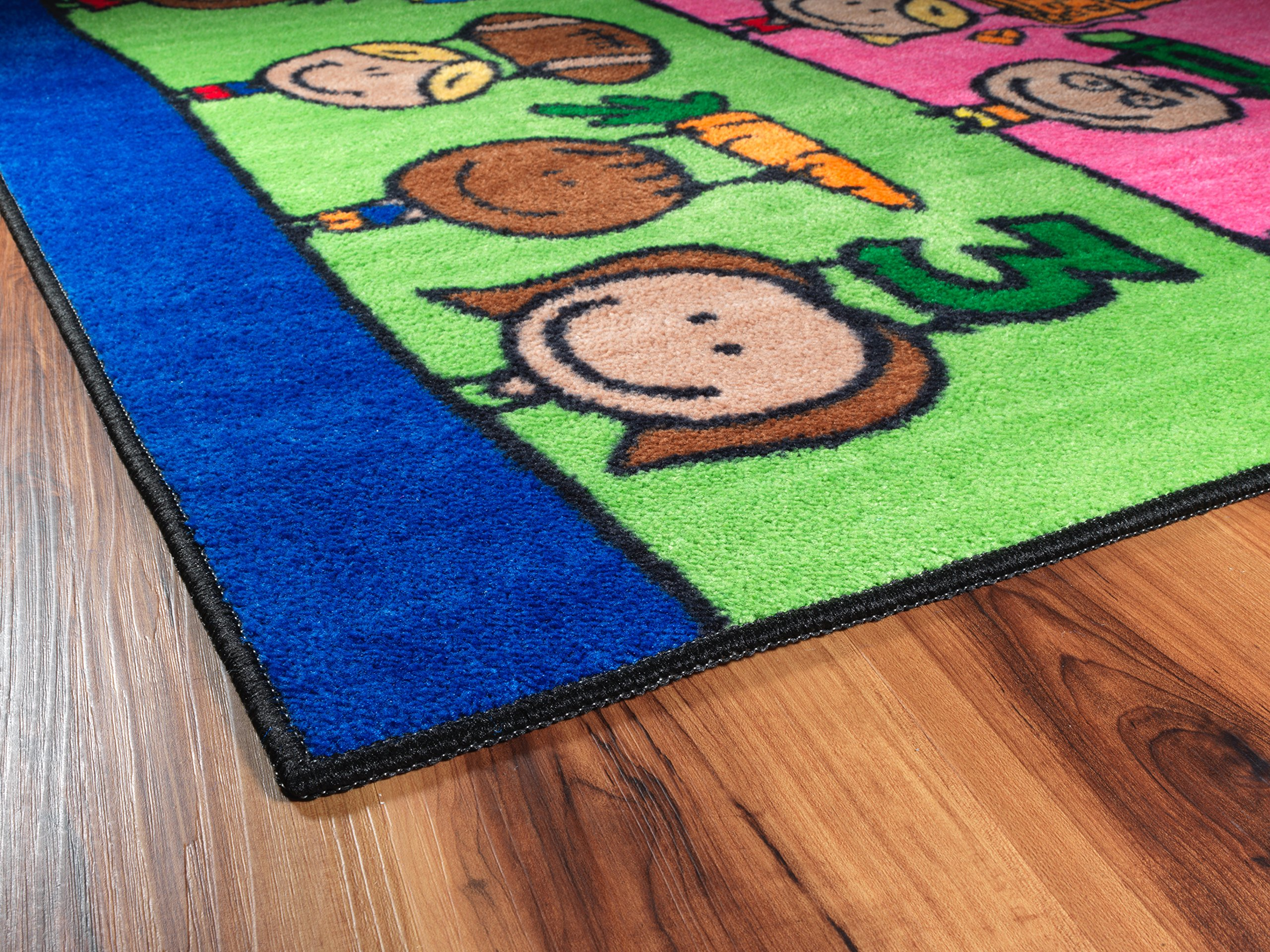 Flagship Carpets CE190-28W Fun at School Rug, Explore Health and Wellness As Well As STEAM Subjects, Children's Classroom Educational Carpet, 5' x 8', 60'' Length, 96'' Width, Multi-Color by Flagship Carpets (Image #14)