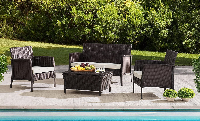 Amazon com sunjoy s dn1630sst b furniture seating set wicker steel patio garden outdoor