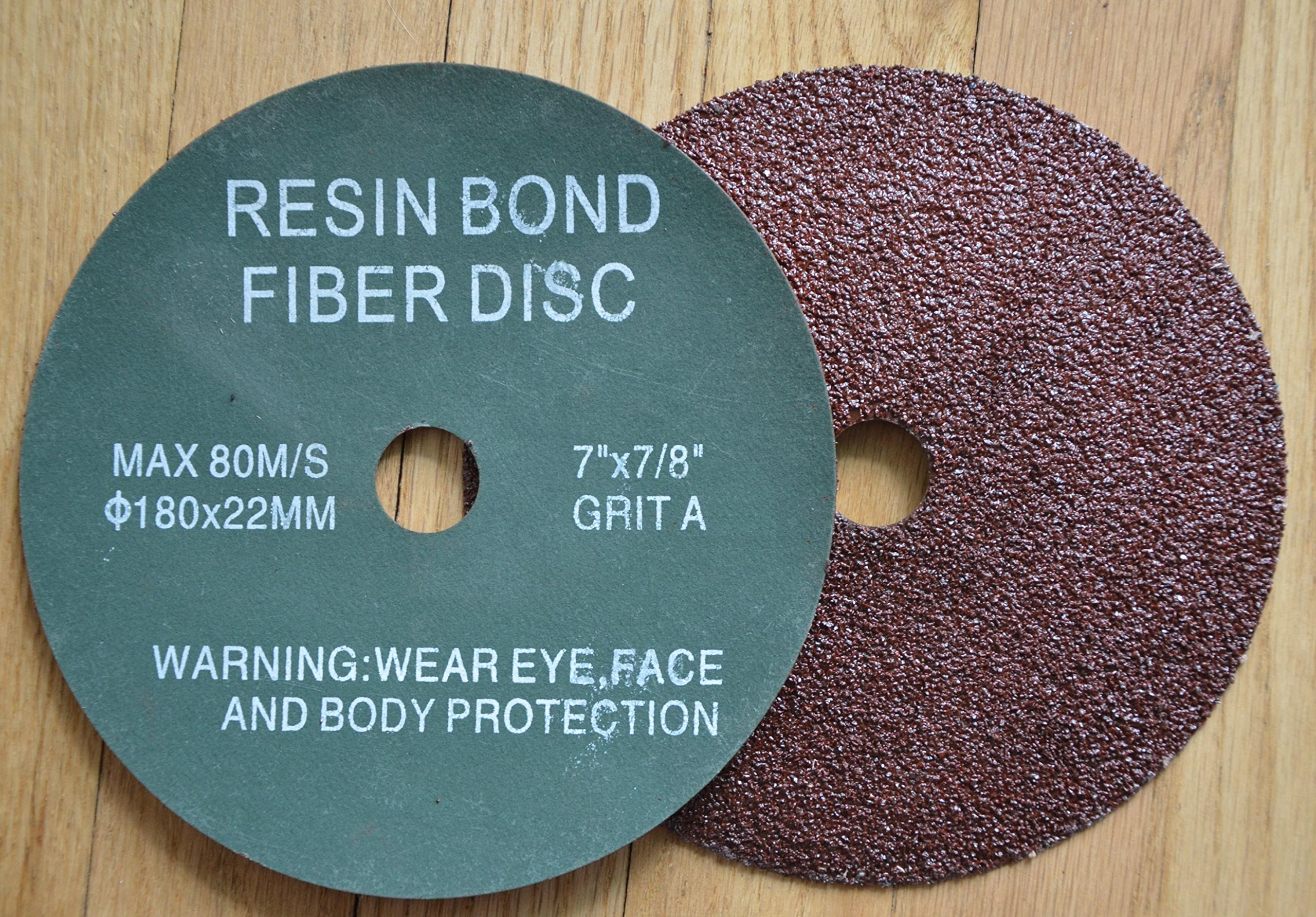 7'' RESIN FIBER SANDING DISC Aluminum Oixde 24 Grit Discs / 25 Pack