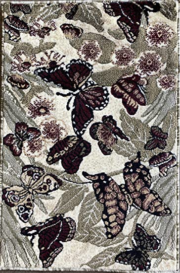 Butterfly Door Mat Area Rug Burgundy Sage Green Beige Ivory Carpet King Design 2 Feet X 3 Feet Kitchen Dining