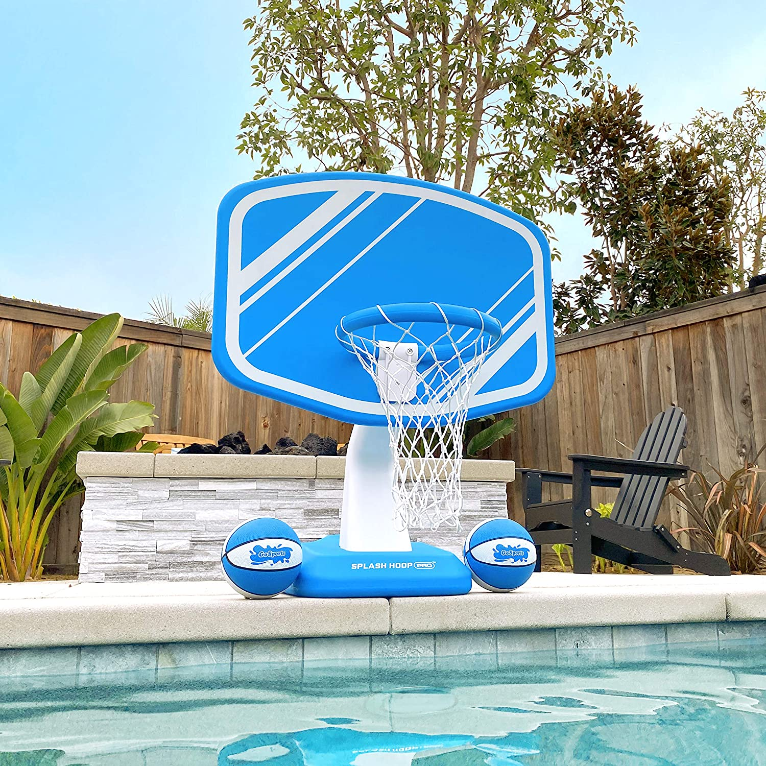 GoSports Splash Hoop Pro Pool Basketball Game, Includes Poolside Water Basketball Hoop, 2 Balls and Pump: Sports & Outdoors
