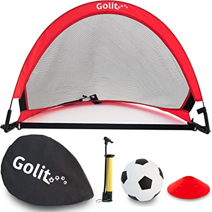 GOLME PRO Pop Up Soccer Goal One Portable Soccer Net With Carry Bag 4/' and 6/' Sizes 2.5/'