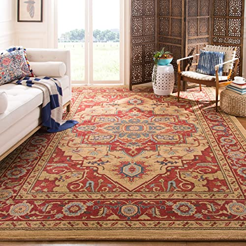 Safavieh Mahal Collection MAH698A Traditional Oriental Red and Natural Area Rug 8 x 10