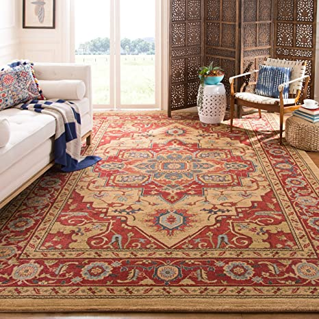 Safavieh Mahal Collection Mah698a Traditional Oriental Red And Natural Area Rug 9 X 12