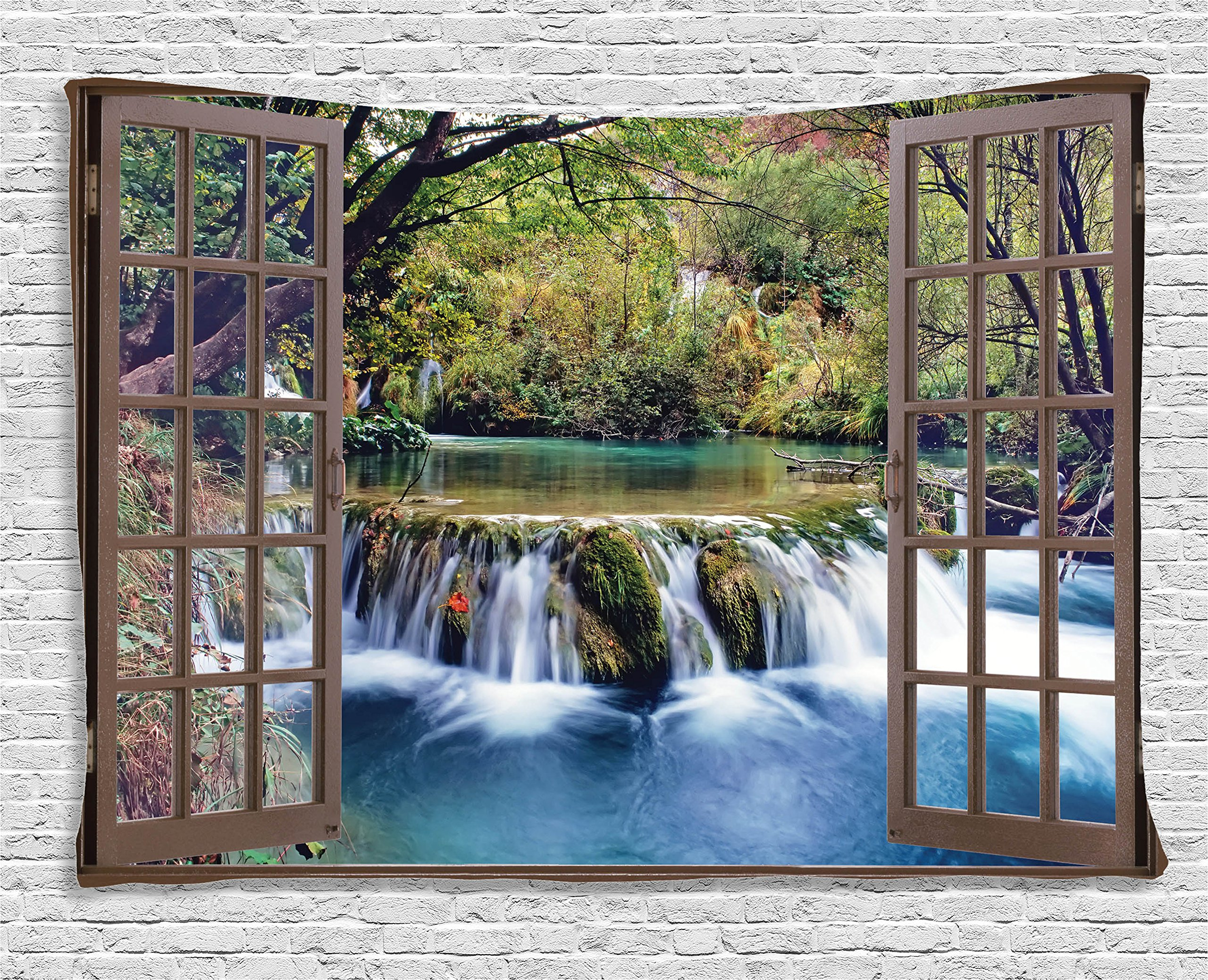 Ambesonne House Decor Tapestry, Wide Waterfall Deep Down in The Forest Seen from A City Window Epic Surreal Decorative Print, Wall Hanging for Bedroom Living Room Dorm, 60 W X 40 L, Multicolor