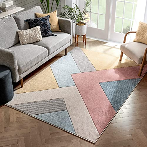 Well Woven Adie Multi Modern Geometric Triangle Boxes Beveled Pattern Area Rug 8×10 7 10 x 9 10