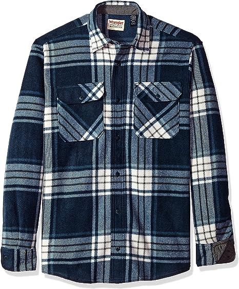 Wrangler mens Long Sleeve Plaid Fleece Jacket Button Down Shirt, Total Eclipse Plaid, Large US at Amazon Men's Clothing store