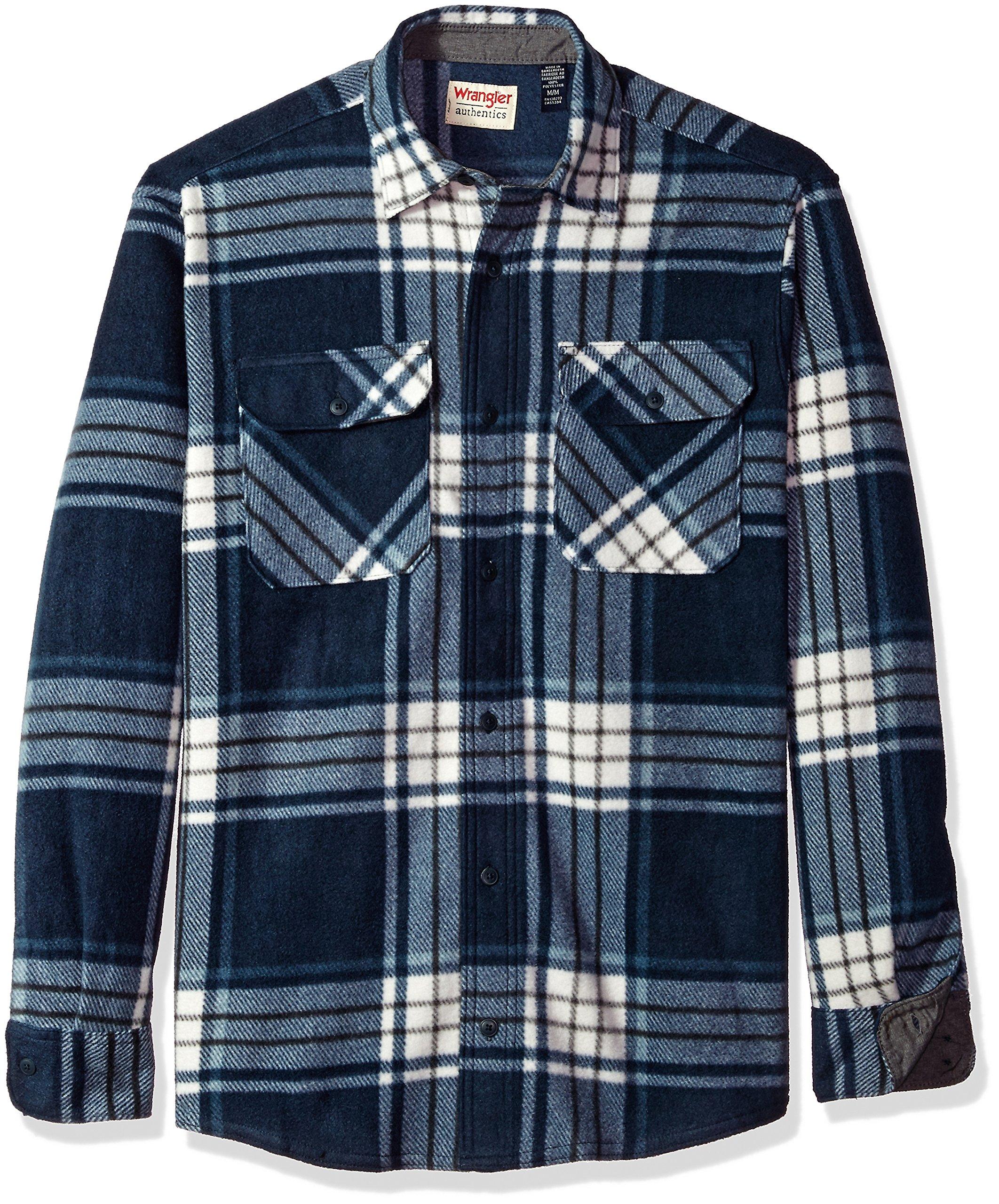 Wrangler Authentics Men's Long Sleeve Plaid Fleece Shirt Jacket, Total Eclipse Plaid, M