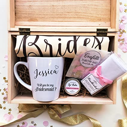 Personalised Pre Filled Will You Be My Bridesmaid Latte Mug Tote Bag Lip Balm Confetti And Handkercheif In A Wooden Box Gift Set