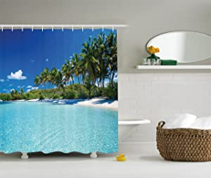 Ambesonne Unique Shower Curtain Ocean Decor, Relax Beach Resort Spa and Palm Trees Picture, Polyester Fabric Bathroom Shower Curtain Set with Hooks, 70 Inches Long, Ivory Blue Green Turquoise White