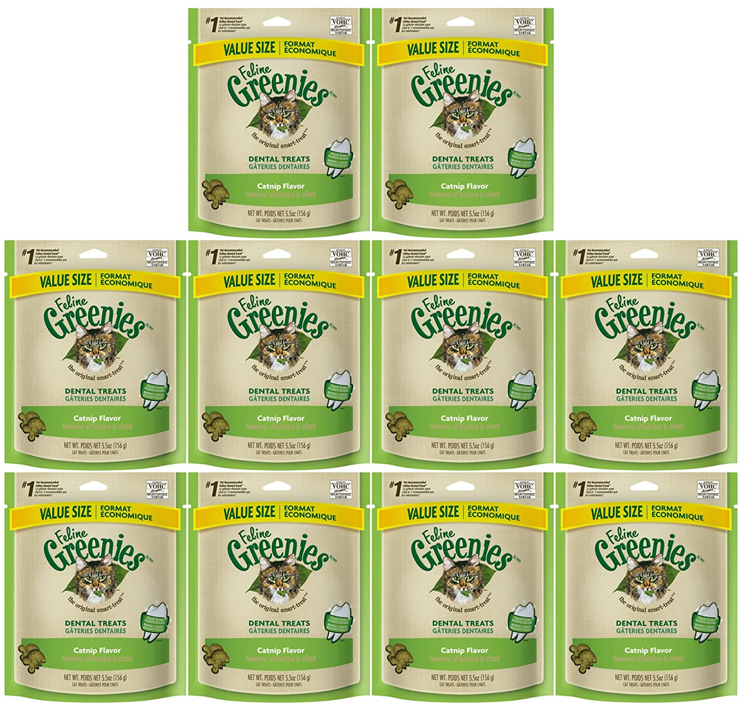 GREENIES Feline Dental Treat for Cats, Catnip Flavor, 5.5oz 10-PACK