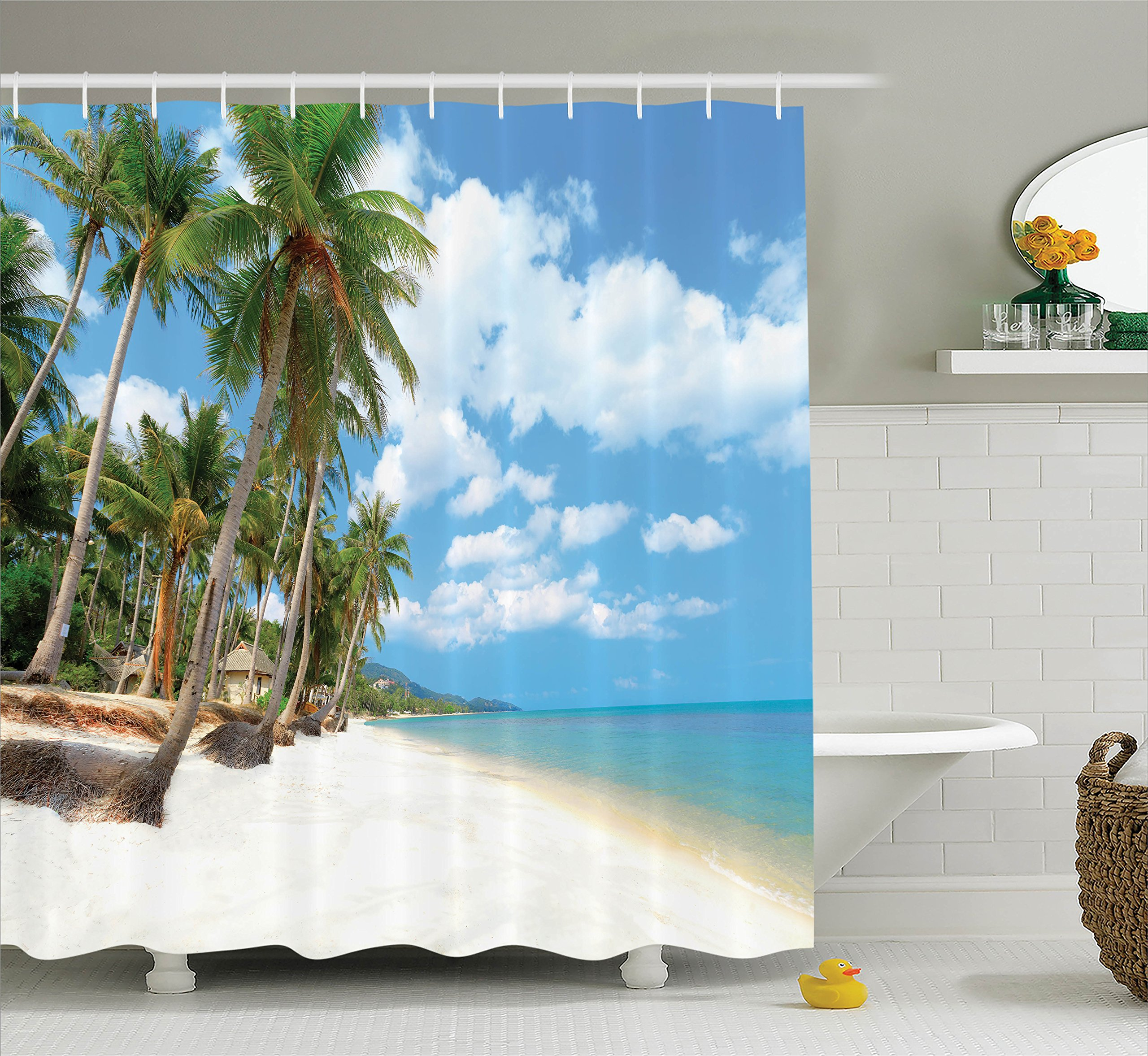 Ambesonne Ocean Decor Collection, Tropical Beach View with Exotic Palm and Clean Sand by the Sea Hawaii Style Paradise, Polyester Fabric Bathroom Shower Curtain, 84 Inches Extra Long, Cream Blue Green