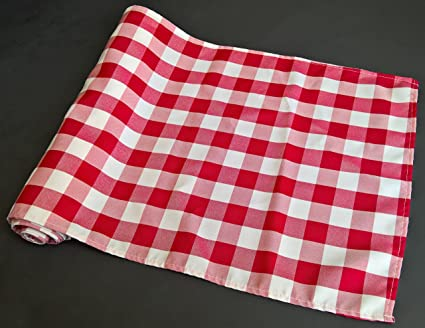 Attirant Checkered Gingham Table Runner 14 X 108 Inches Red And White