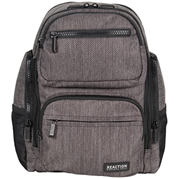"399f8950d4ea Kenneth Cole Reaction Heathered-Twill 600d Polyester Dual Compartment 15.0""  Laptop Travel Backpack, Charcoal"