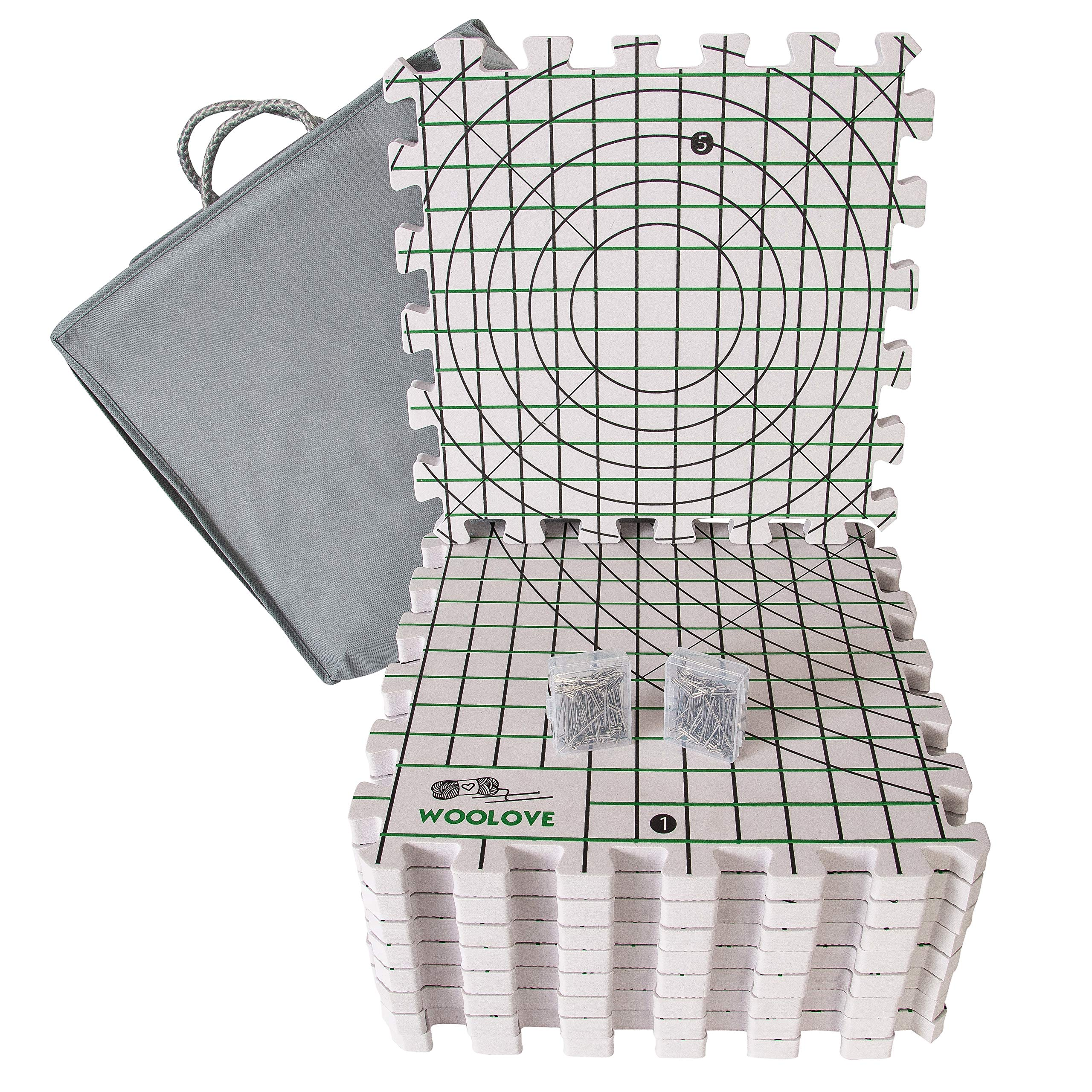 Extra Thick Blocking Mats for Wet and Steam Blocking with Grids and Radial Circles - Set of 9 Marked with Numbers Includes 100 t pins and Storage Bag by WOOLOVE (Image #1)