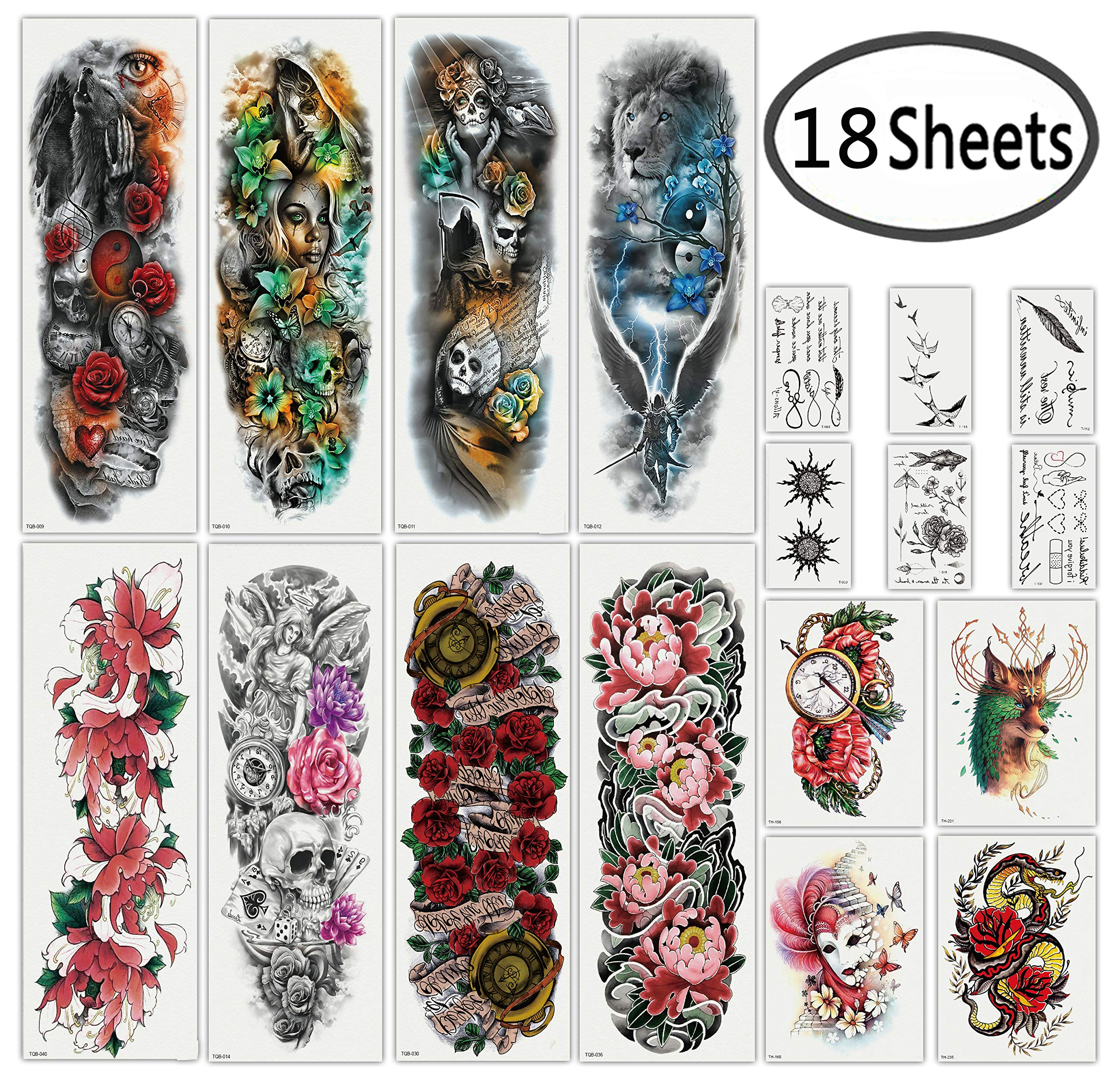 98132a42a0d4e Amazon.com : DaLin Extra Large Full Arm Temporary Tattoos and Half Arm  Tattoo Sleeves for Men Women, 18 Sheets (Collection 2) : Beauty