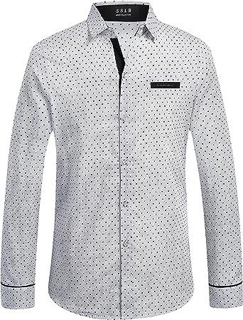 SSLR Camisa Manga Corta Casual Hombre de Rosas y Lunares