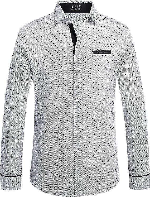 SSLR Camisa Clásica de Lunares de Algodón Manga Larga para Hombre