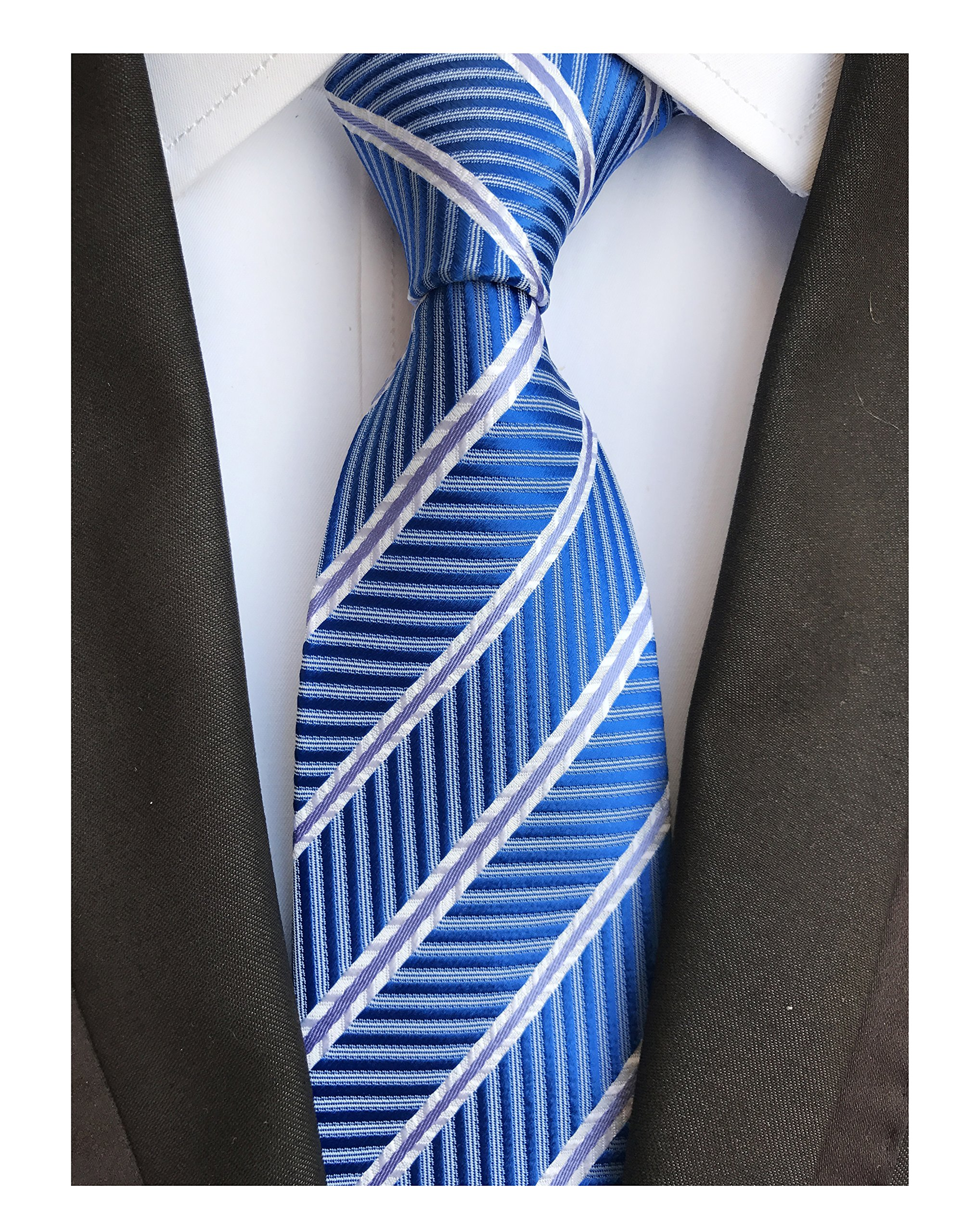 Mens Repp Soft Blue White Silk Tie Fine Stripe Woven Working Summer Suit Necktie