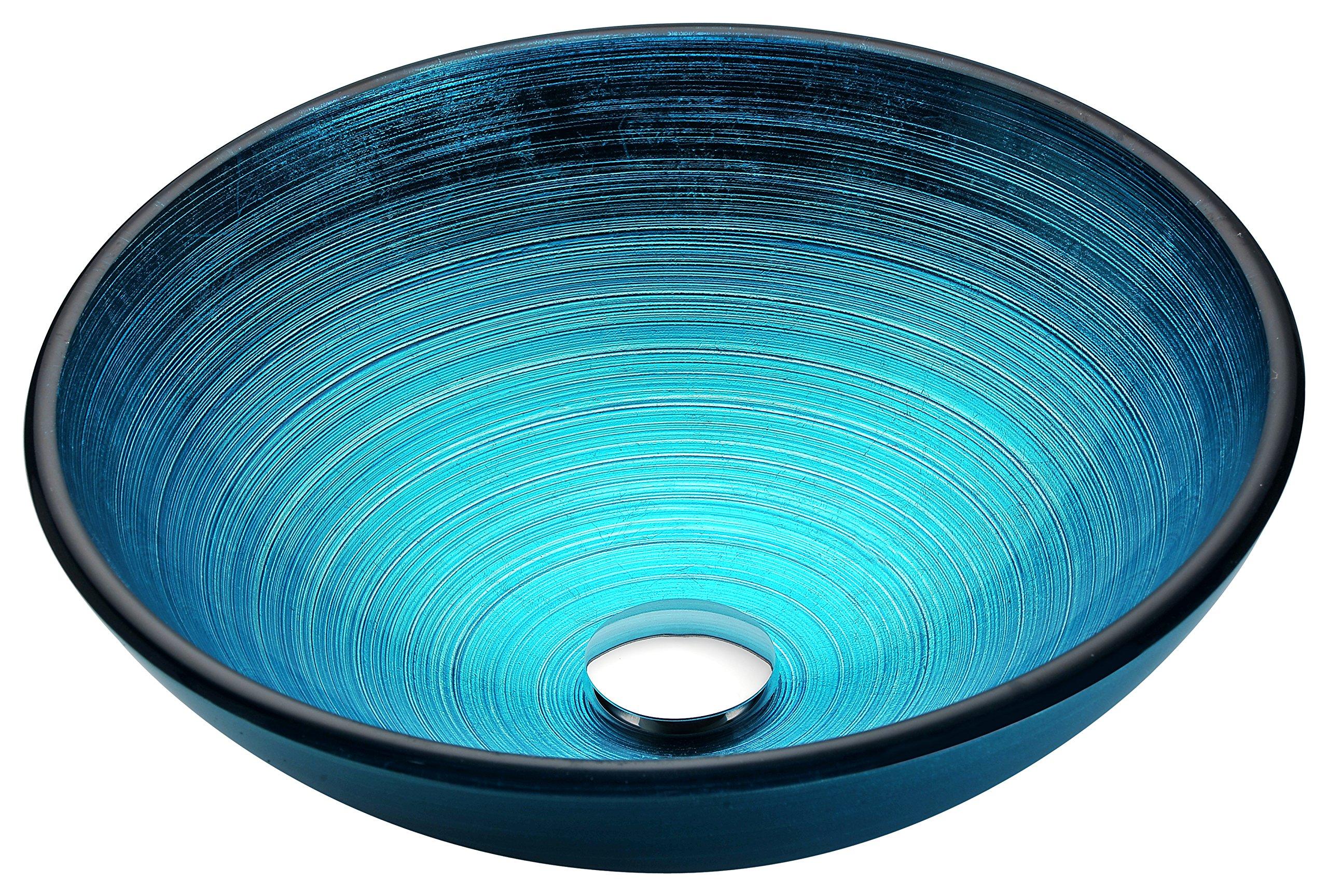 Tempered Glass Vessel Sink - Lustrous Blue - Enti Series LS-AZ045 - ANZZI