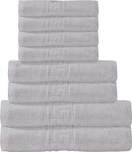 Divine Textiles - Juego de toallas (8 piezas, 100% algodón egipcio, 600 g/m², 2 toallas de baño, 2 toallas de mano, 4 toallas), color plateado: Amazon.es: Hogar