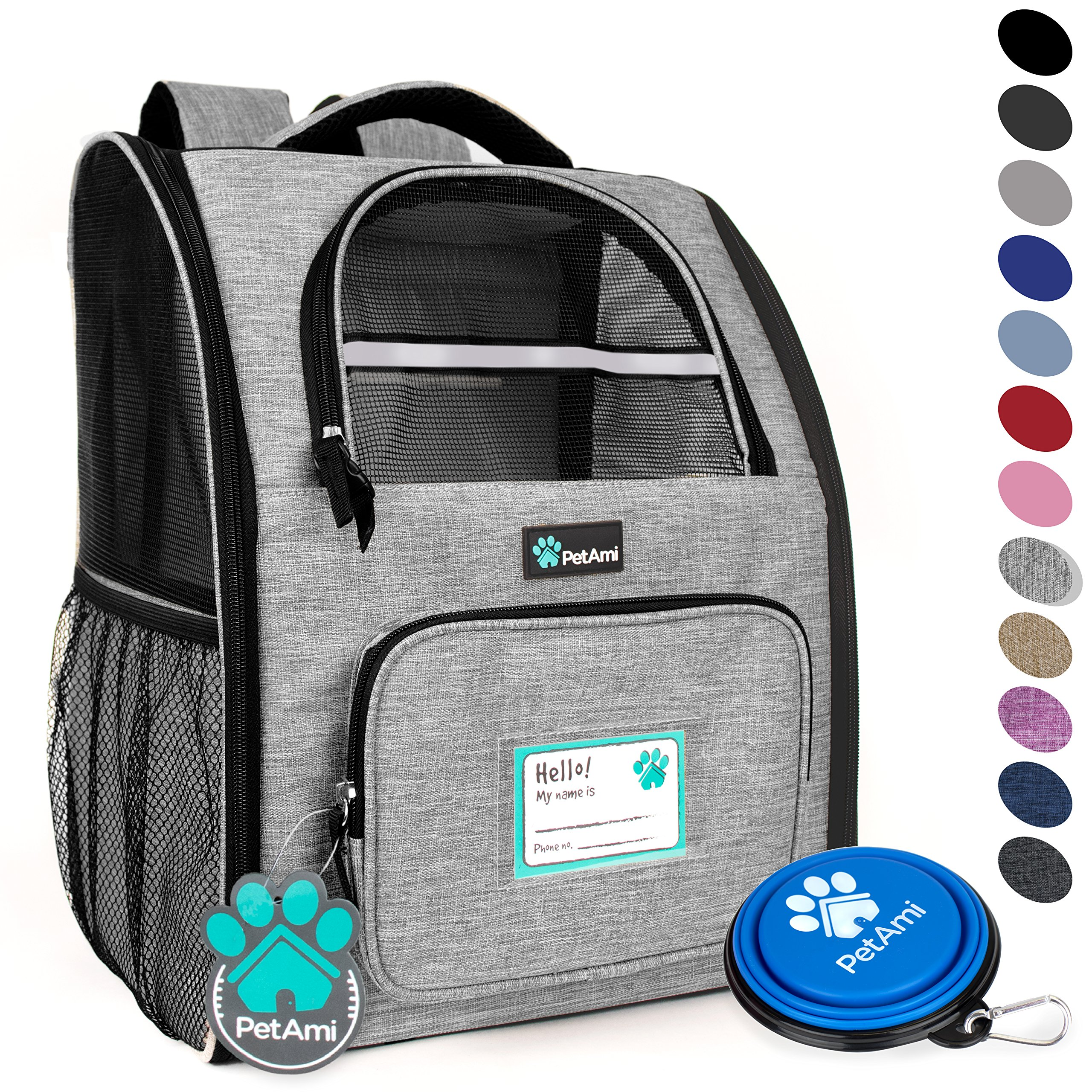 PetAmi Deluxe Pet Carrier Backpack for Small Cats and Dogs, Puppies | Ventilated Design, Two-Sided Entry, Safety Features and Cushion Back Support | for Travel, Hiking, Outdoor Use (Heather Gray) by PetAmi