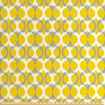 Amazon Com Ambesonne Ikat Decor Fabric By The Yard Oval And Double