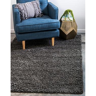 Unique Loom Solo Solid Shag Collection Modern Plush Graphite Gray Area Rug (4' x 6')