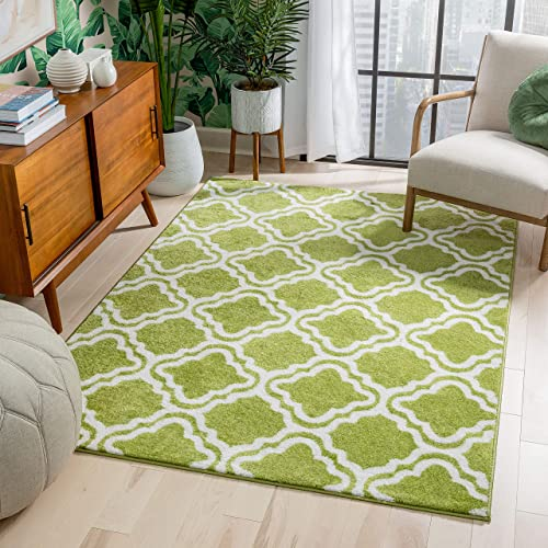 Modern Rug Calipso Green 7'10''X10'6'' Lattice Trellis Accent Area Rug Entry Way Bright Kids Room Kitchn Bedroom Carpet Bathroom Soft Durable Area Rug