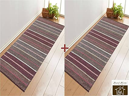 Saral Home Soft Cotton Multi Purpose Runner (Pack of 2, 70x180 cm), Multi