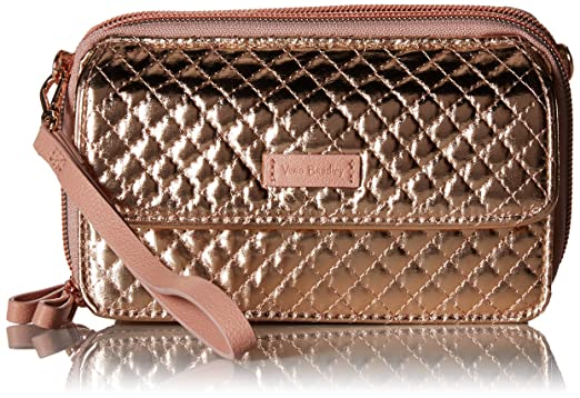 Vera Bradley Iconic RFID All in One Crossbody, Foiled Cotton, Rose Gold  Shimmer 11e0e39e7e