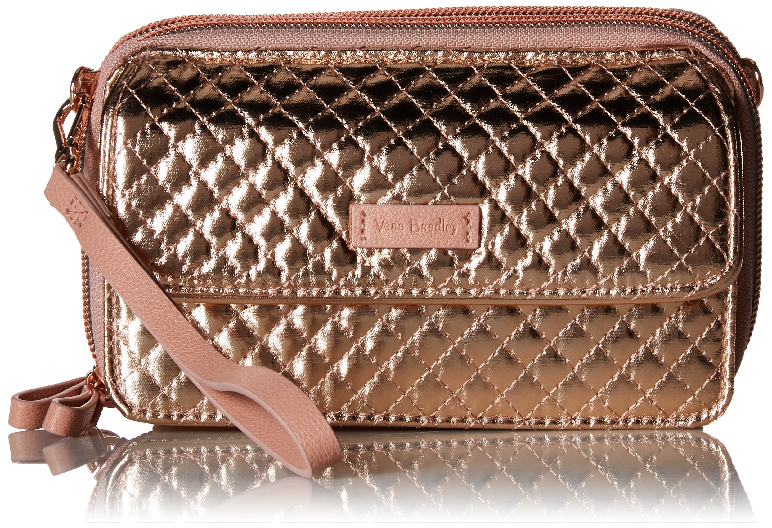 Vera Bradley Iconic Rfid All in One Crossbody, Foiled Cotton, Rose Gold Shimmer by Vera Bradley (Image #1)