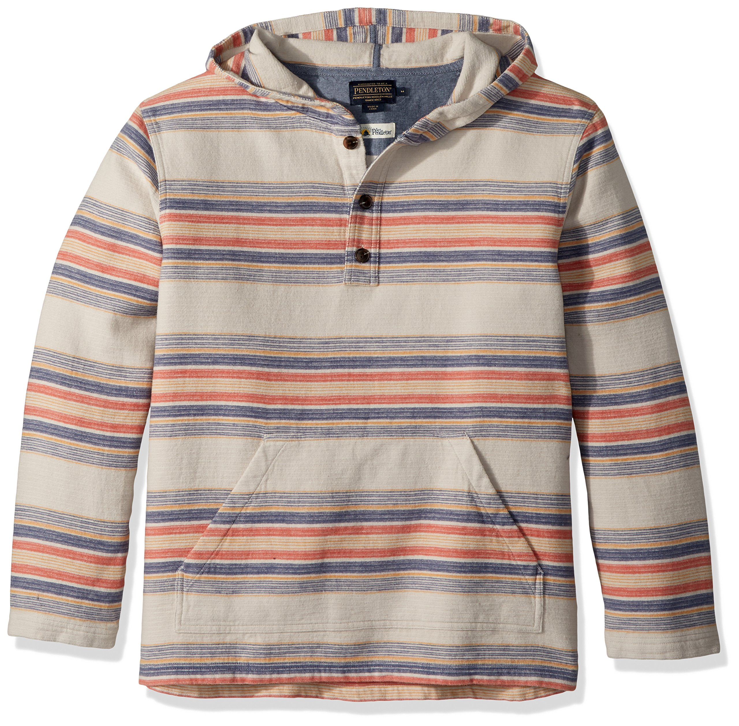 Pendleton Men's Serape Stripe Popover Hoody, Silver Cloud Serape Stripe-65308, XXL