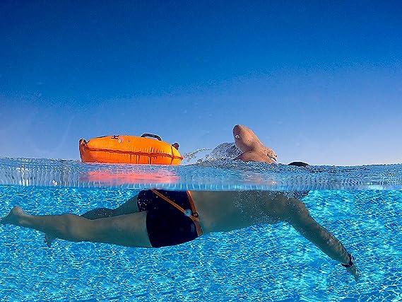 Hotspear Boya De Natación para Aguas Abiertas con Bolsa Estanca, con Dos Cámaras de Aire Rapido de inflar y desinflar Swimming Dry Bag Buoy (Cinturón y Correa de reemplazo): Amazon.es: Deportes y