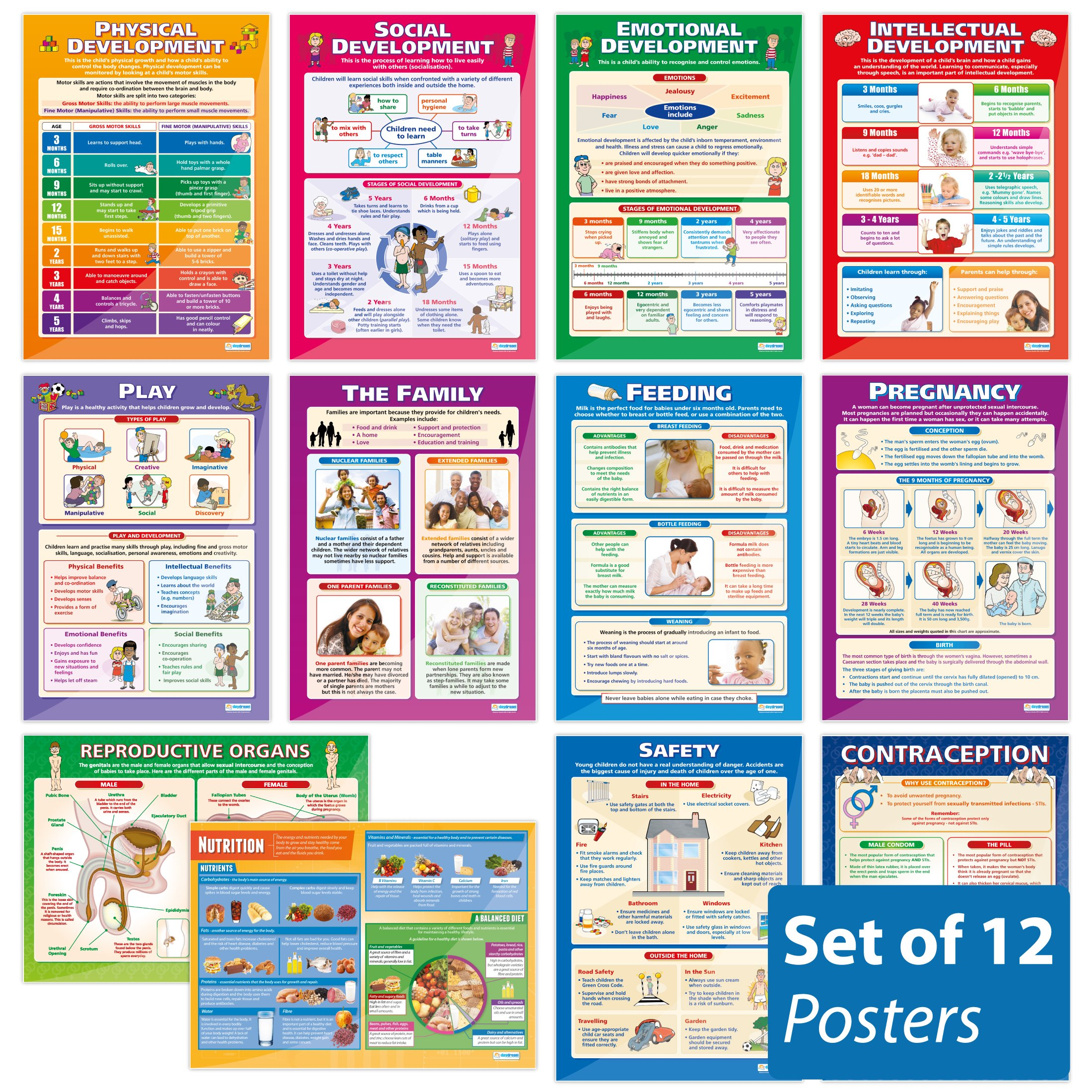 Child Development Classroom Posters - Set of 12 | Gloss Paper measuring 33'' x 23.5'', School Posters for the Classroom, Educational Wall Charts, by Daydream Education
