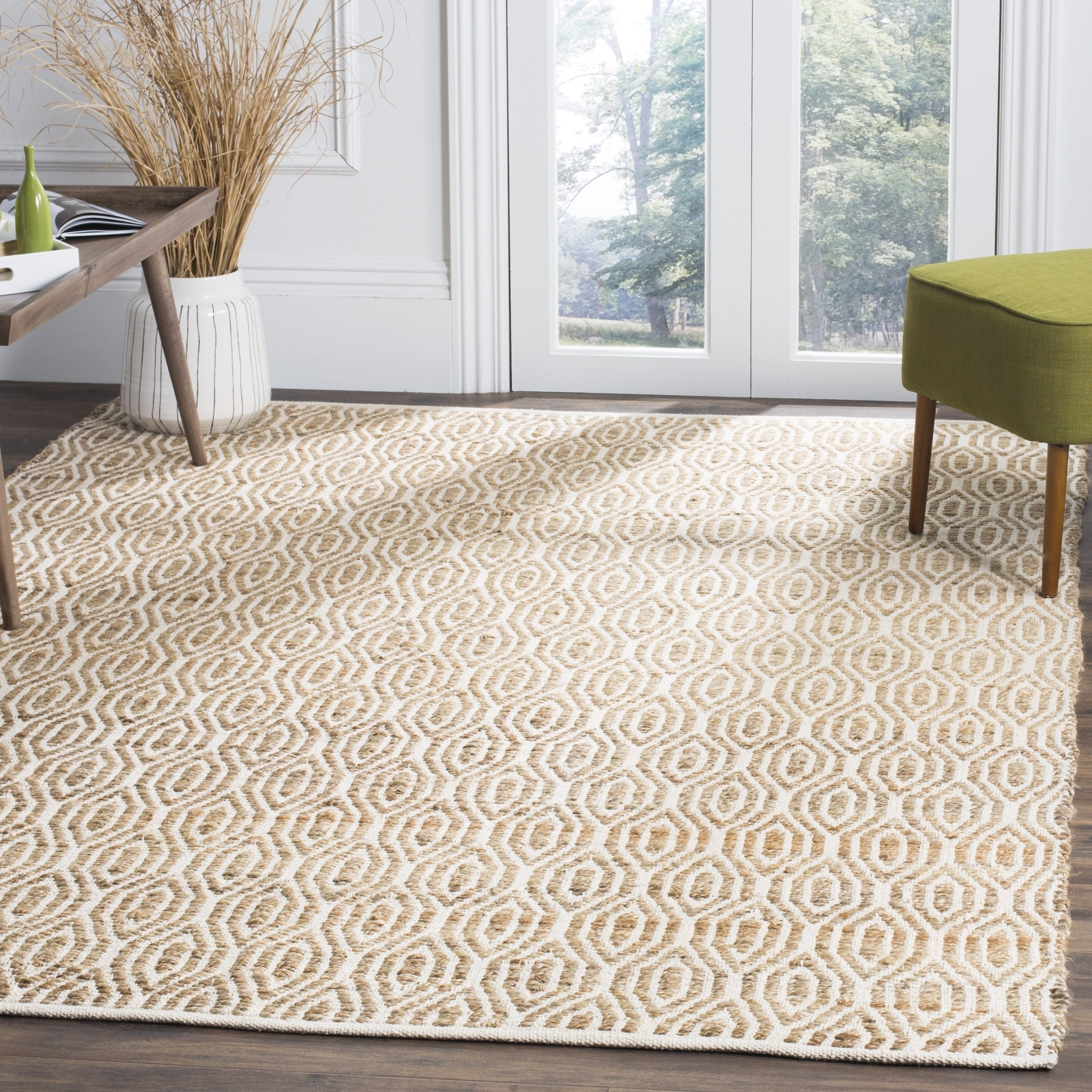 Safavieh Cape Cod Collection CAP822I Hand Woven Geometric Natural Jute and Cotton Area Rug (5' x 8') by Safavieh