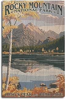 product image for Lantern Press Rocky Mountain National Park, Colorado - Longs Peak and Bear Lake Fall (10x15 Wood Wall Sign, Wall Decor Ready to Hang)