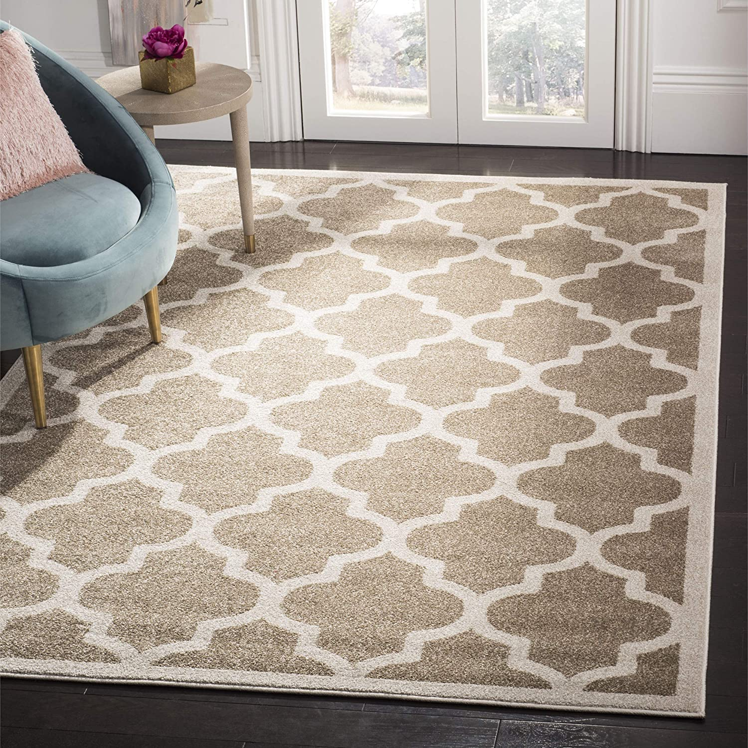Safavieh Amherst Collection AMT420S Wheat and Beige Indoor/ Outdoor Area Rug, 3 feet by 5 feet (3' x 5')