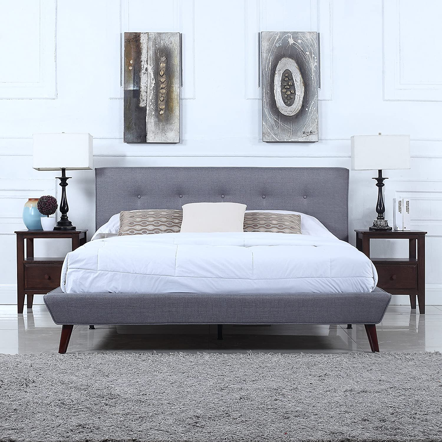 a queen to small sized headboard and it this raise durable features upholstery elegant has linen pin black bed tufted off platform frame legs wooden button