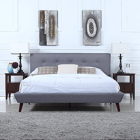 buy online f16bd 561ef Mid-Century Grey Linen Low Profile Platform Bed Frame with Tufted Headboard  Design (King)